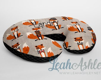 Minky Boppy® Pillow Cover - Nifty Foxes Woodland MINKY with Black MINKY Dot OR Choose Your Minky Dot Color - BC3