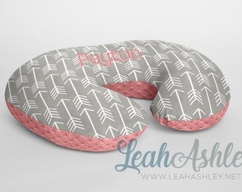 Minky Boppy® Pillow Cover - Silver Gray Arrows Minky WITH Coral Minky Dot OR Choose from 42 Solid Colors - BC2 - (aka: salmon)