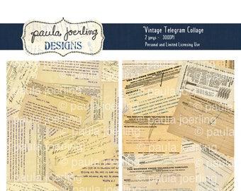 Vintage Telegram Collage Digital Download, Printable Paper, Ephemera, Texture Download, Scrapbook Paper, Smashbook, Telegram Background