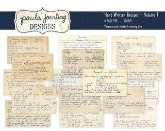 Vintage Handwritten Recipe Cards, Download, Printable, Digital Download, Ephemera, Scrapbook Paper, Hand Written, Cursive handwriting