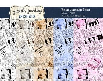 Vintage Lingerie Collage Digital Download, Printable Paper, Ephemera, Texture Download, Scrapbook Paper, Smashbook Paper, Vintage Lingerie