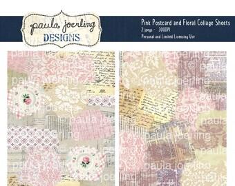 Vintage Postcard and Floral Collage Sheets, Pink Floral Digital Download, Printable Paper, Ephemera, Scrapbook Paper,Vintage Background