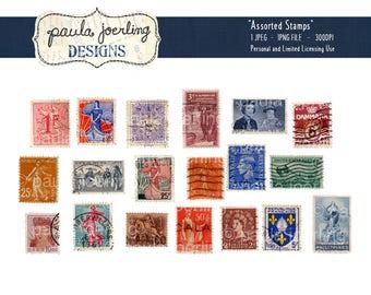 Printable Vintage Stamps, Digital Download, Ephemera, Scrapbook Paper, Digital Collage Sheet, Paper Craft, Decoupage Sheet