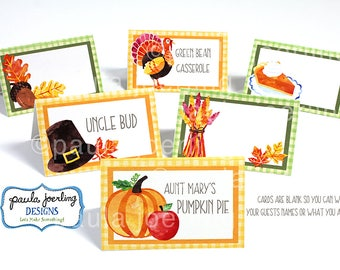 Printable Thanksgiving Place Card, Thanksgiving Food Label, Thanksgiving Food Tent Card, Thanksgiving Digital Download, Fall Place Card
