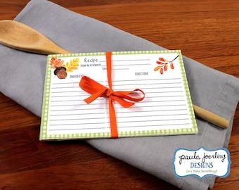 "Printable 4"" x 6"" Thanksgiving Recipe Cards, Thanksgiving Watercolor Recipe Card, Thanksgiving, Thanksgiving Digital Download, Hostess Gift"