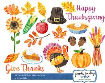 Thanksgiving Clip Art, Watercolor Thanksgiving Clip Art, Digital Download, Instant Download, Turkey, Pumpkin Pie, Fall Leaves, Hand Drawn