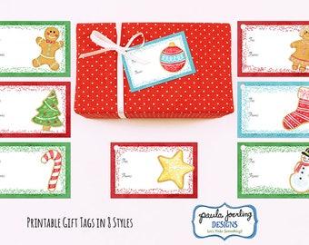 Printable Christmas Cookie Gift Tags, Holiday Gift Tags, Christmas Tags, Christmas Digital Download, Christmas Cookies, Gift Tag Download