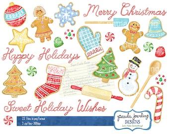 Christmas Cookies Clip Art, Watercolor Christmas Clip Art, Digital Download,Instant Download, Holiday Sweets, Candy Clip Art,Christmas Candy