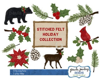 Stitched Felt Holiday Clip Art,Rustic Holiday Clip Art,Digital Download, Instant Download,Christmas Deer, Holly, Felt Pine Cone, Cardinal