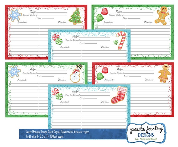 photo regarding Printable Christmas Recipe Cards referred to as Printable Xmas Recipe Playing cards, Xmas Cookie Watercolor 4 x 6 Recipe Card, Family vacation Reward, Xmas Electronic Obtain, Hostess Reward