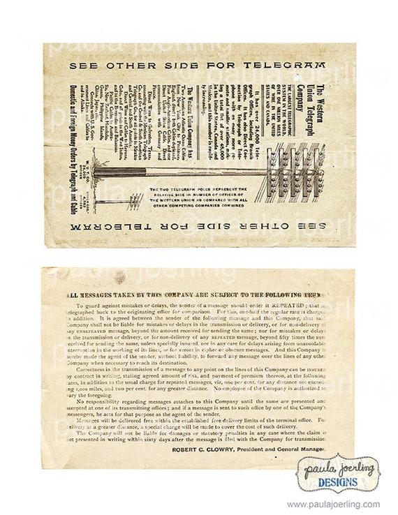 Vintage Western Union Telegram Printable, Digital Download, Old Telegram,  Ephemera, Scrapbook Paper, 1900's, Old Documents