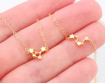 Tiny Dainty Zodiac Sign Necklace, Constellation Necklace, Zodiac Outline Layering Necklace, Minimalist Jewelry Gift for Her, Star Necklace