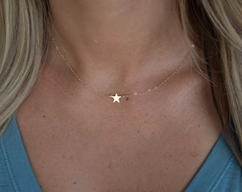 Tiny Star Necklace, Gold or Silver Star Necklace, Family Jewelry, Mother and Kids Necklace, Grandmother and Kids Necklace