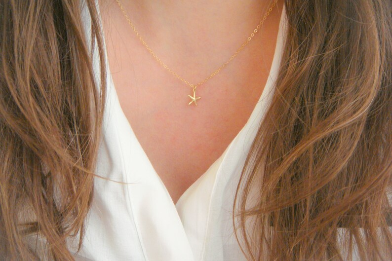 Gold Necklace Gold Small Starfish Necklace Christmas Gift 14 Kt Gold-Filled Tiny Star Necklace Minimalist Necklace Gift for her