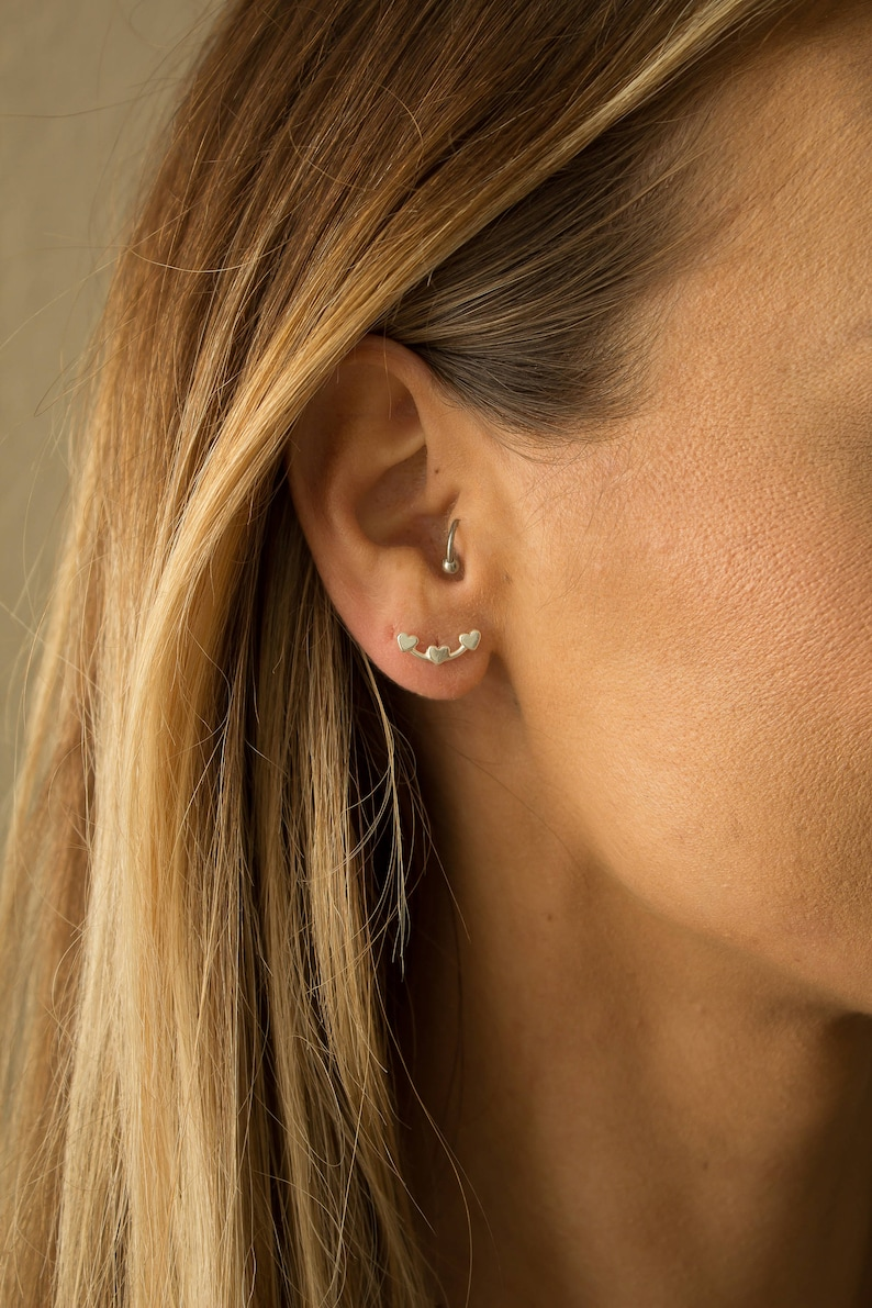 b0659fa0c Sterling Silver Triple Heart Earring Climbers Tiny Hear Stud | Etsy