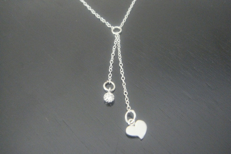 Sterling Silver Mini Small Tiny Heart and Crystal Necklace Earrings Bridesmaids Special Ocassion Birthday Christmas Y necklace Two Hearts