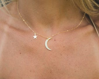 Dainty Moon and Star Necklace, Delicate Tiny Charm Necklace, Layering Necklace, Minimalist Jewelry Gift for Her, Star Necklace,Moon Necklace