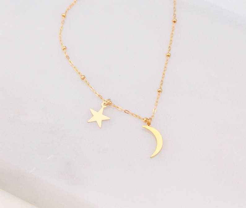 3f3729614cbeb Dainty Moon and Star Necklace, Crescent Half Moon Necklace, Layering  Necklace, Minimalist Jewelry, Gift for Her, Star Necklace, Christmas