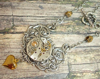 Steampunk Watch Movement Necklace Steampunk Jewelry Silver Filigree Heart Necklace Cogs Gears Stainless Steel Chain One-of-a-Kind