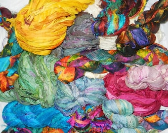 50 Yards PinkOrchid   Sari Silk Ribbon Skein Ethically Traded in India