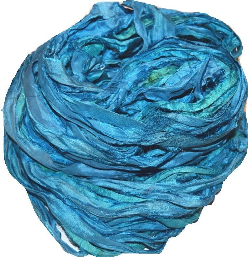 10 yards Recycled Sari Silk Ribbon Yarn,Green aqua for tassels,embellishment