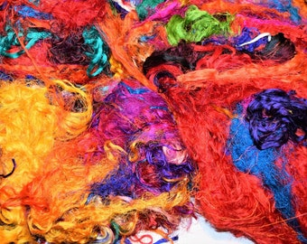 3oz Sary silk Waste  FiberThreads  Mixed Media Felting Spinning Silk Paper Weaving Crochet Fiber Textile Art Supply