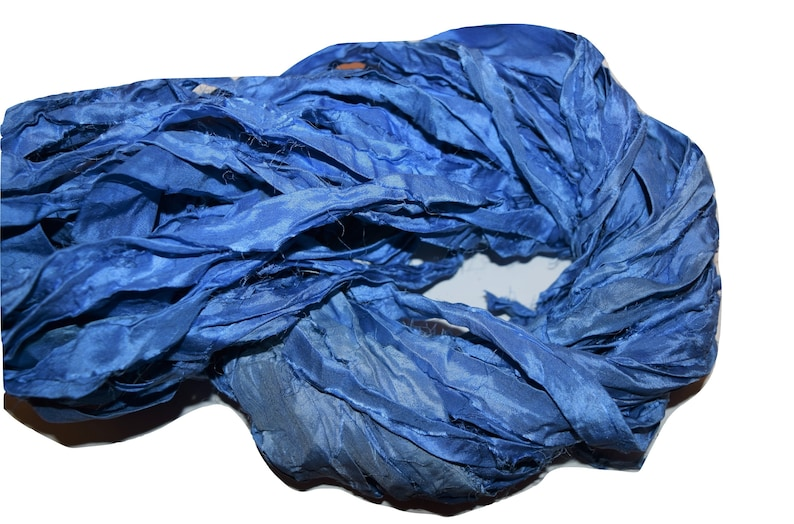 100g Recycled Sari Silk Ribbon Yarn free shipping 3.5 oz  Blue multi