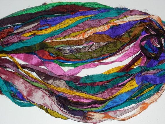 100 gram Recycled Sari Silk Ribbon Summer Sky color