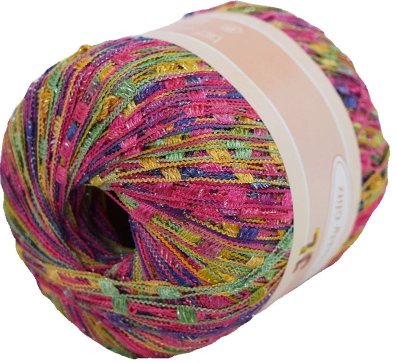 Twinkly Glitz Trellis Yarn col 907 hot pink yellow 150 yrds with lurex free shipping