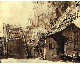 COURTYARD of a FARMHOUSE by Rembrandt, Vintage 9 x 12 Book Art Print, Sepia Drawing