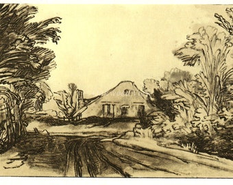 HOUSE BESIDE A ROAD in the Woods by Rembrandt, Vintage 9 x 12 Book Art Print, Sepia Drawing