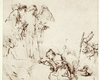 JACOB'S DREAM by Rembrandt, Vintage 9 x 12 Book Art Print, Sepia Drawing