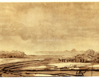 LANDSCAPE WITH MARSHLAND by Rembrandt, Vintage 9 x 12 Book Art Print, Sepia Drawing