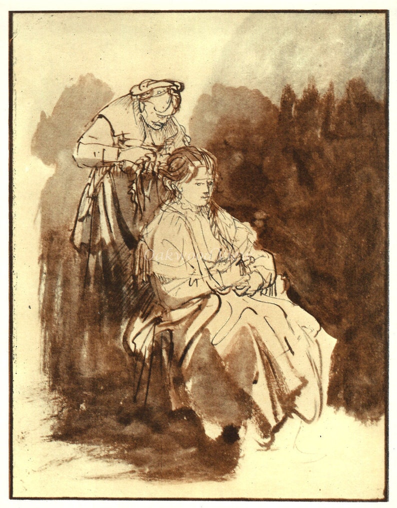 SASKIA at HER TOILET by Rembrandt, Vintage 9 x 12 Book Art Print, Sepia  Drawing