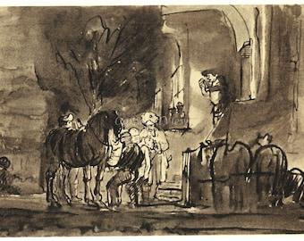 THE GOOD SAMARITAN by Rembrandt, Vintage 9 x 12 Book Art Print, Sepia Drawing