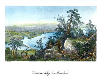 CONNECTICUT VALLEY from Mount Tom by J.D. Woodward, Vintage 19th Century Color Art Print Reproduction