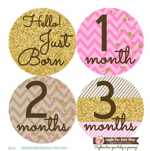 baby month stickers monthly baby stickers baby girl first etsy