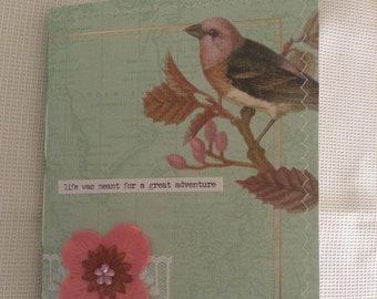 Junk Journal, Mini Spring Journal, handmade Journal, Shabby Chic Journal, Travel Journal