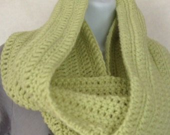 Handmade scarf, Crochet Lime Green cowl, Chunky Scarf,  eternity scarf, circle scarf,  trending cowl