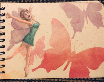 Sketchbook, notebook, double loop spiral bound upcycled materials, fairy and butterflies gouache painting