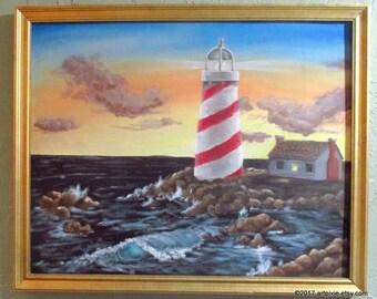 framed 16x20 original oil lighthouse and waves painting, wall decor, original art, on canvas board, ocean scene, coastline, rocky shores