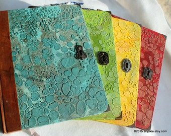 Last one! Faux dragon leather sketchbook, notebook, art journal, recycled book, yellow, gift for artist, drawing tools, hand-stitched