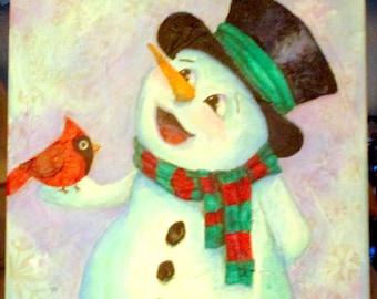 12x12 mixed media & acrylic snowman painting on stretch canvas, winter decor, christmas decor, snowman and cardinal, holiday decor, wall art