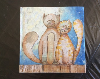 hand painted, mixed media journal, notebook, romantic cats in the moonlight, gift for daughter, mother, girlfriend