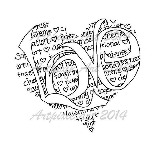 amor en forma de corazón significa Caligrama sello digital | Etsy