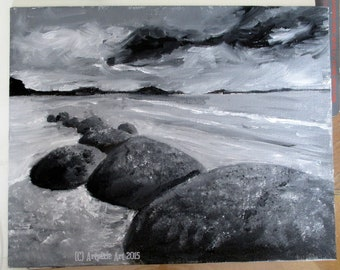 8x10 original oil painting, black and white ocean scene featuring rocks, waves and clouds. Unframed painting on canvas board