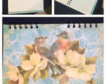 Sketchbook, notebook, double loop spiral bound up cycled materials, decoupaged cover birds and flowers, dogwood