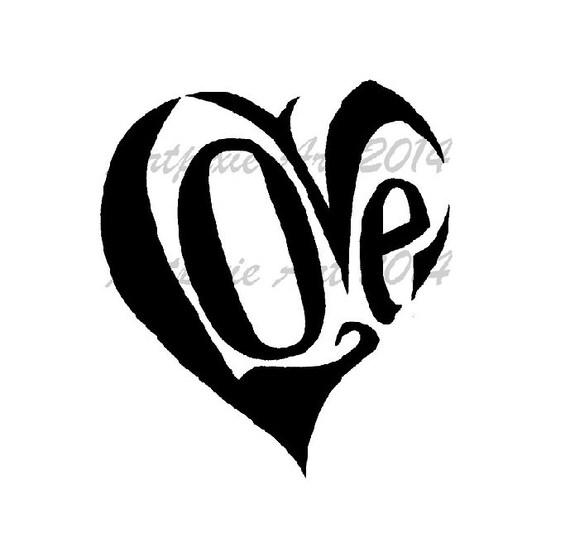 corazón de amor en forma sello digital Imágenes | Etsy