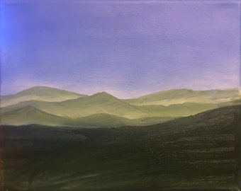 8x10 original acrylic painting on stretch canvas, misty mountains, green hills, blue skies