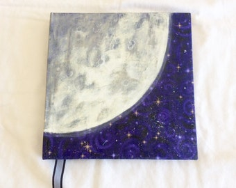 """Moon & Stars hand painted spiral bound upcycled notebook, art journal or sketchbook, original art, 9"""" square, gift for artist friend, mom,"""